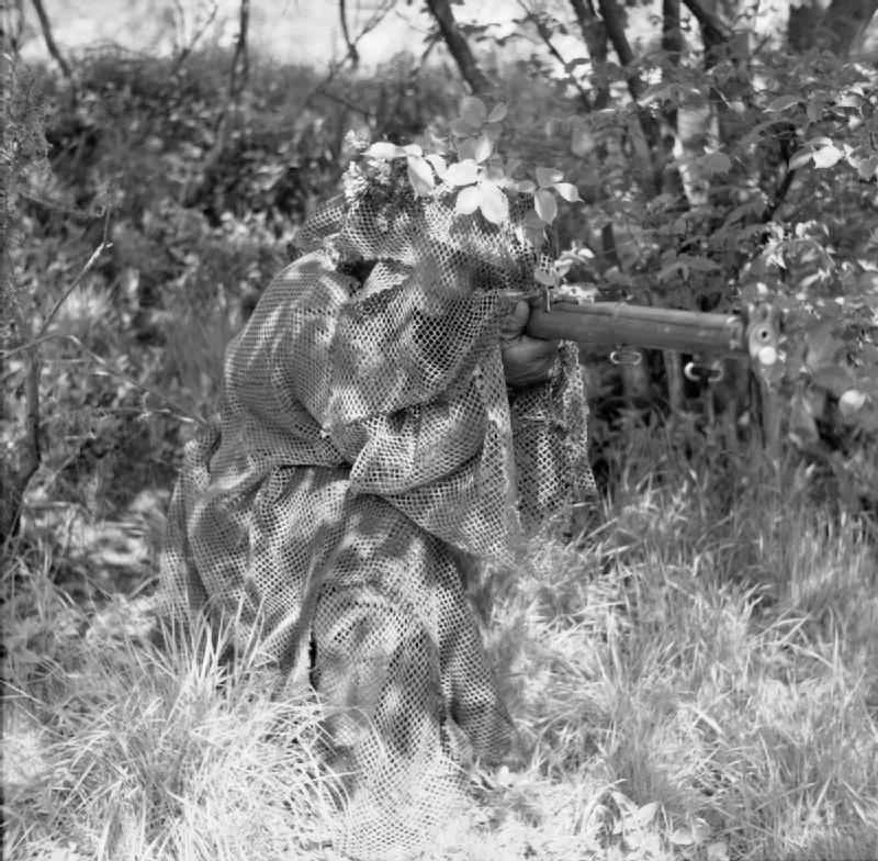A camouflage suit for a sniper of the British Army