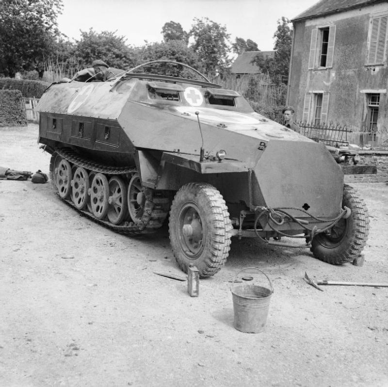 A captured German SdKfz 251 ambulance half-track, 15 June 1944.
