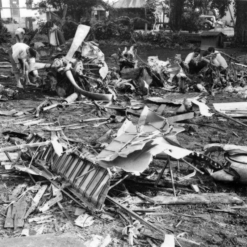 Wreckage of Japanese Mitsubishi A6M2 Zero plane shot down by USAAF fighters near the Civil Construction Coprs camp in Wahiawa, T.H., during the Japanese attack on Wheeler Field.