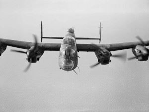 A Lancaster Mk III of No. 619 Squadron on a test flight from RAF Coningsby, 14 February 1944. (Credits: Imperial War Museum)