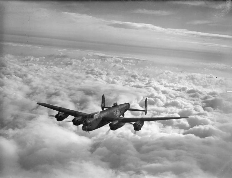 Lancaster B Mark III, LM449 'PG-H', of No. 619 Squadron RAF based at Coningsby, Lincolnshire, in flight.