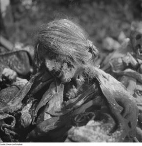 Body of a woman who died in an air-raid shelter
