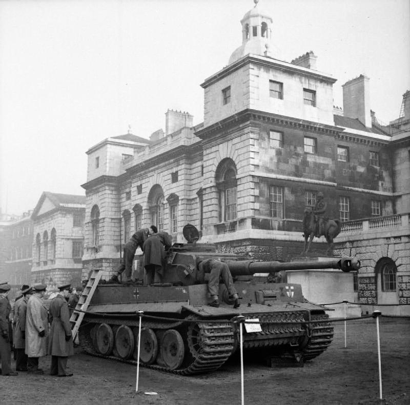 German Tiger I tank captured in Tunisia, on display at Horse Guards Parade in London, 18 November 1943.