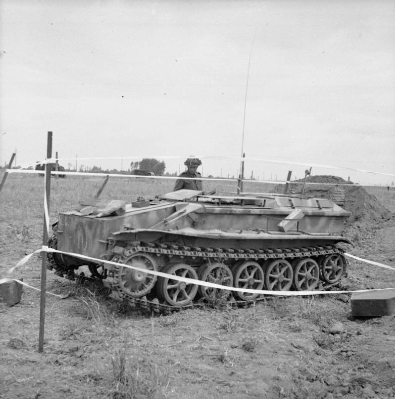 German remote-controlled tracked vehicle used to deliver a demolition charge, captured by 51st Highland Division troops at Benouville, 27 June 1944.
