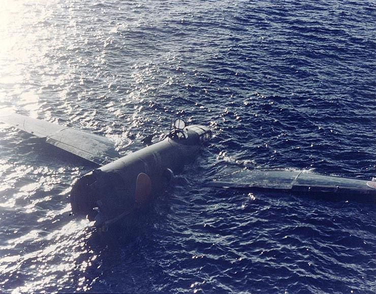Largely intact floating wreckage of a Japanese Navy Type 1 land attack plane (a type later code named Betty), which crashed during the aerial torpedo attack on the Allied invasion force off Tulagi Island on 8 August 1942. Photographed from USS Ellet (DD-398).