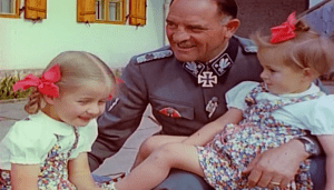 Sepp Dietrich with 2 daughters of Joseph Goebbels.