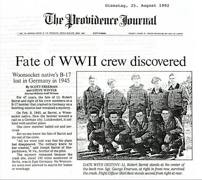 News article - Fate of WWII Crew Discovered