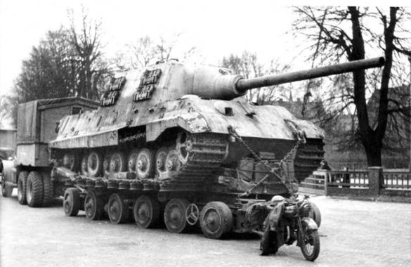 Captured Jagdtiger on culmeyer trailer.