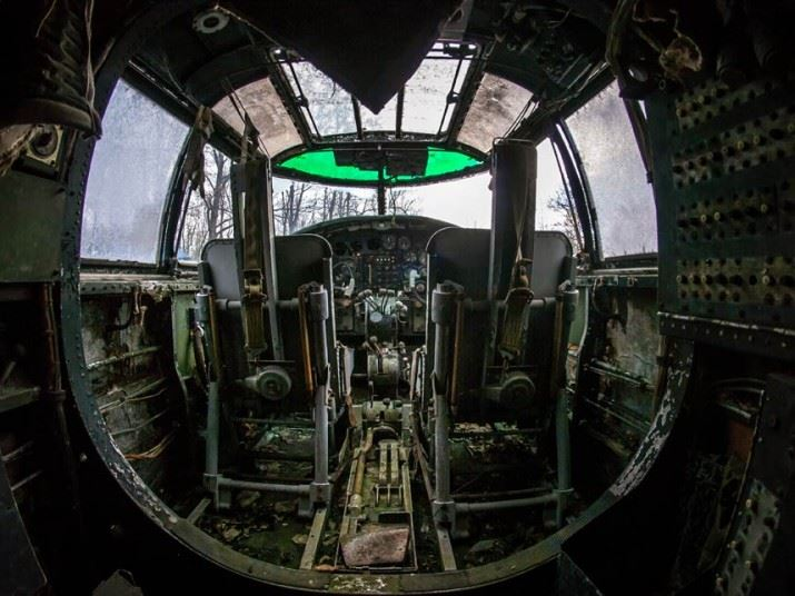 A B-25 cockpit in the graveyard. Mr Joo said that the abandoned planes were almost like an outdoor museum.
