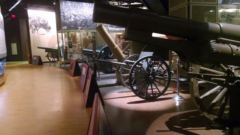 The artillery take a prime seat in the permanent exhibit hall.