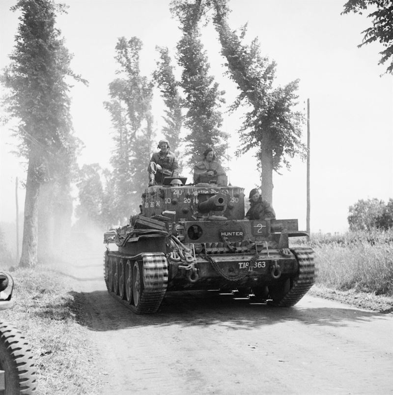 A Centaur Mk IV tank of the Royal Marines Armoured Support Group near Tilly-sur-Seulles, Normandy, 13 June 1944.