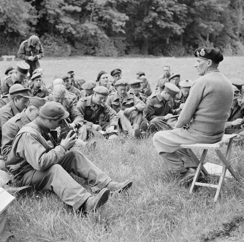 General Sir Bernard Montgomery addressing Allied war correspondents at a press conference at his headquarters, 11 June 1944.