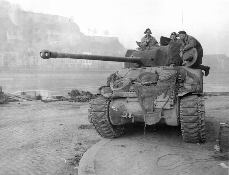 British Sherman Firefly in Namur. 1944.