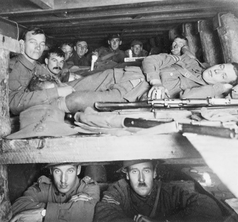 The congested interior of a dugout 15 feet below ground, Passchendaele, November 1917.