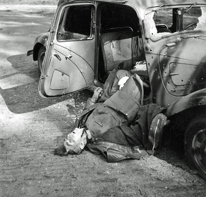 Major General Friedrich Kussin, in charge of German units in the Arnhem area, lies dead in his car after being ambushed by No. 5 Platoon, 'B' Company, 3rd Parachute Battalion, 1st Airborne Division, on 17 September 1944.