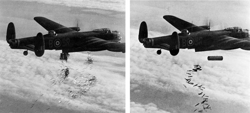 """A Royal Air Force Avro Lancaster I (s/n NG128, coded """"SR-B"""") of No. 101 Sqn out of Ludford Magna. Bombing of Duisburg."""
