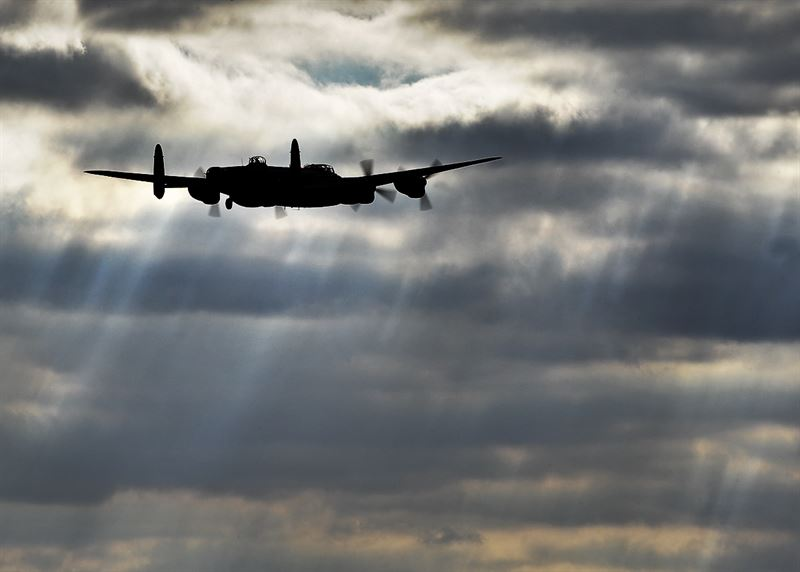 The 'Phantom of the Ruhr' Lancaster of RAF Coningsby's Battle of Britain Memorial Flight (BBMF) returns from an air-test early in the 2012 season. (Credits: SAC Graham Taylor/MOD)