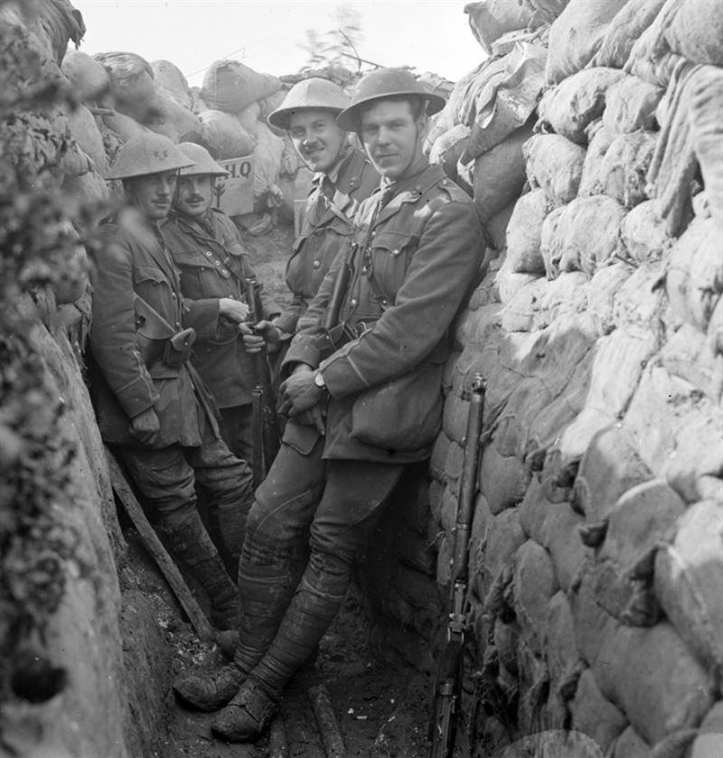 Officers of the Royal Engineers in a communication trench.