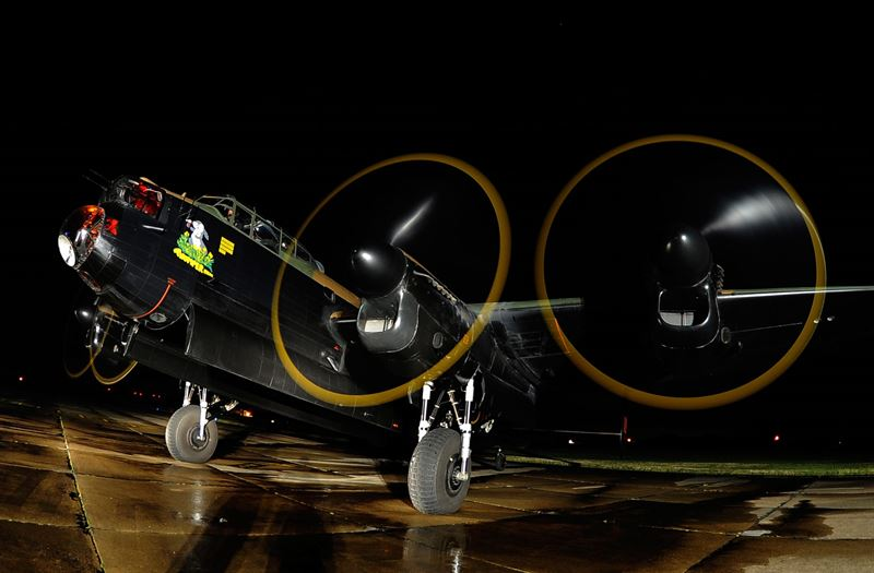 The Royal Air Force Memorial Flight's Lancaster PA 474 undertakes a night engine run in preparation for the 2013 commemoration of the 70th anniversary of the Dambusters raids of World War 2