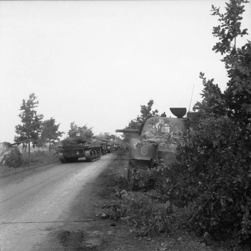 Sherman tanks of the Irish Guards Group advance past others which were knocked out earlier during Operation Market Garden (17 September 1944).
