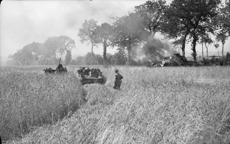 Carriers of the Queen's Regiment drive through a cornfield as a German Panther tank burns in the background, during the advance towards Aunay-sur-Odon, 31 July - 1 August 1944.