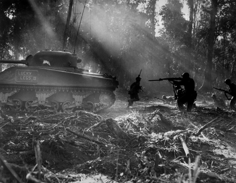 U.S. Army soldiers on Bougainville (one of the Solomon Islands) in World War II.