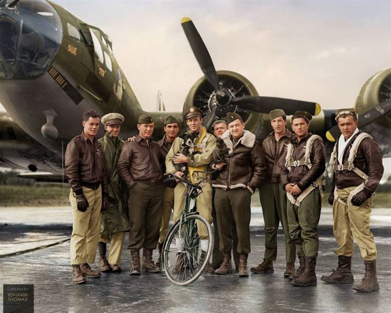 US Air Force pilot 2nd Lieutenant Robert Wade Biesecker with his crew of the 569th Bombardment Squadron, 390th Bomb Group, US Eighth Air Force, standing by 'Honey Chile', their B-17 Flying Fortress bomber (serial 42-31027), at RAF Framlingham, a US Eighth Air Force Bomber Command station in England, 18 October 1943.