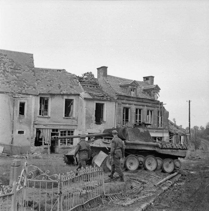 A Panther of Panzer Lehr Division, one of five knocked out in the village of Lingèvres by a single Sherman Firefly of 4th/7th Dragoon Guards on 14 June 1944.