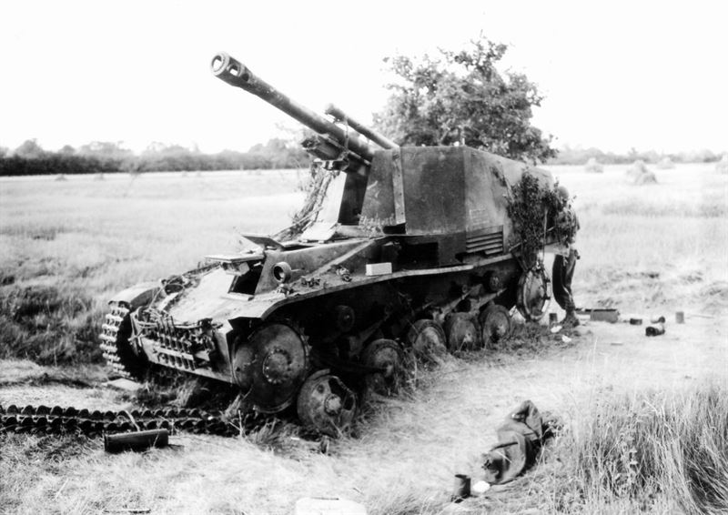 A Wespe destroyed in Normandy, 1944.