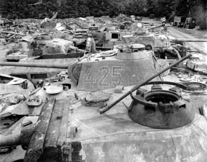 Panther tanks among German tanks captured by the Allies, Normandy