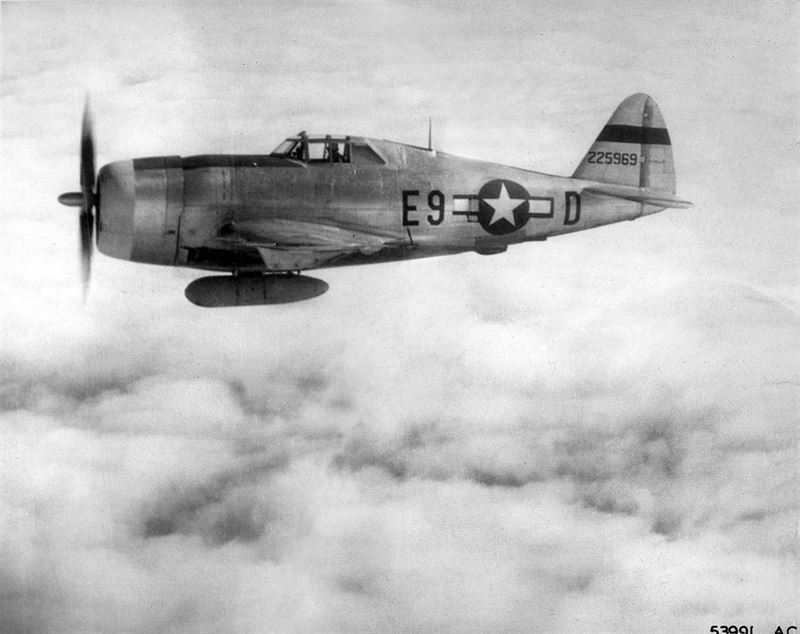 P-47D-22RE 42-25969 8th AF / 361st FG / 376th FG flown by Capt. John D. Duncan. (Credits: USAF)