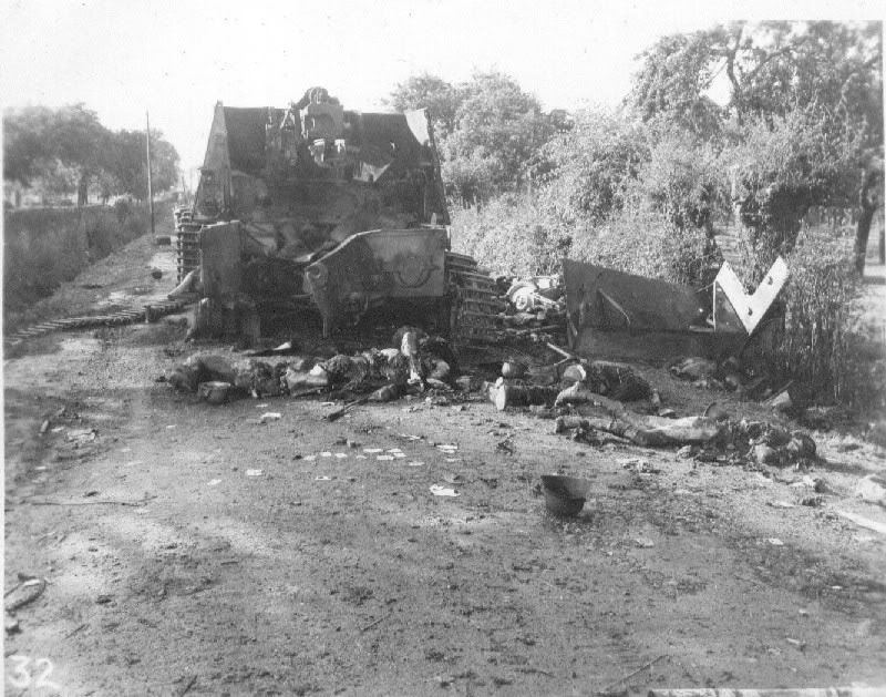 Hummel destroyed in the Falaise Gap, Normandy.