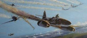 Walter Schuck gets out of his Messerschmitt Me 262 - the P-51 of Joe Peterburs in the back