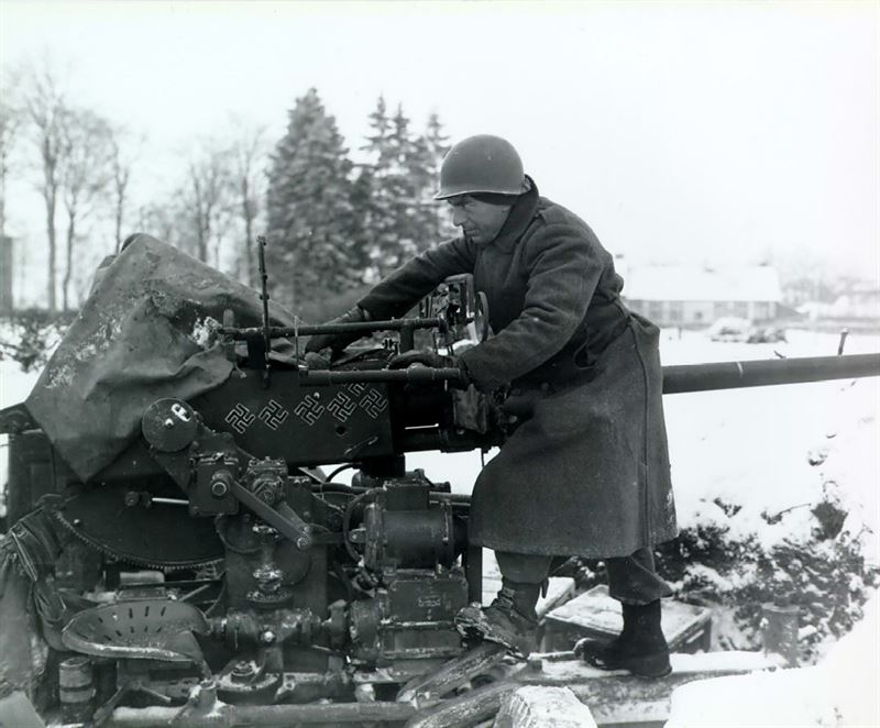 40-mm antiaircraft gun at snow-covered Sourbrodt, Belgium