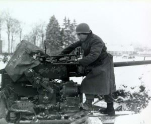 40-mm antiaircraft gun at snow-covered Sourbrodt, Belgium