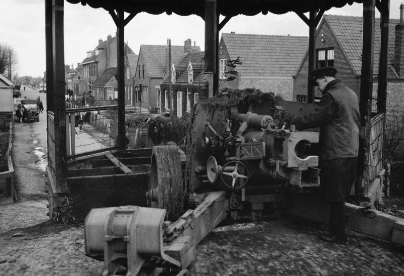 A German 75mm anti-tank gun emplaced in a bandstand at Nieuland, near Middelburg in Holland, November 1944.