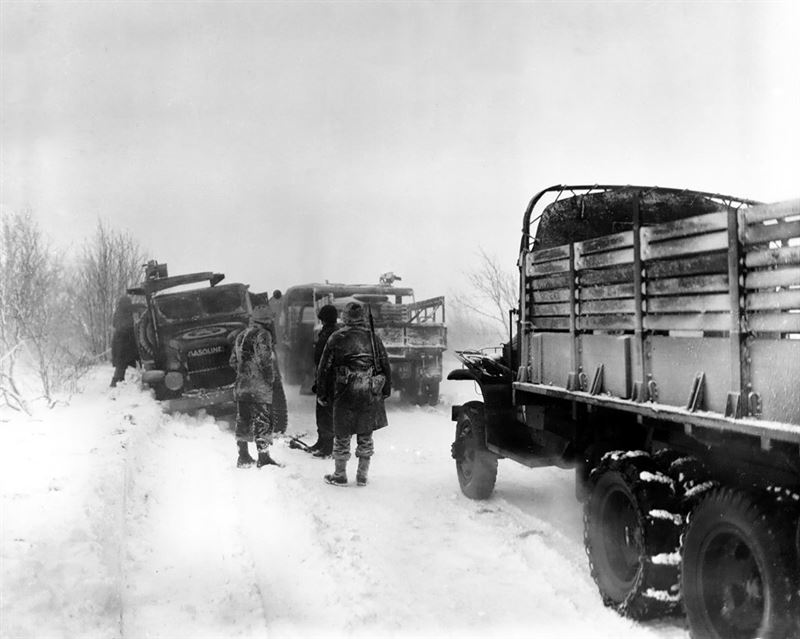 US Army vehicles on a road in Belgium, 1944-45