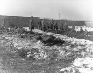 German prisoners of war dig graves for members of the 101st Airborne Division who were killed defending Bastogne against the Germans.