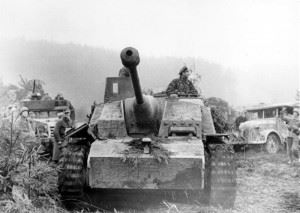 A German Sturmgeschütz assault gun during the Ardenne offensive.