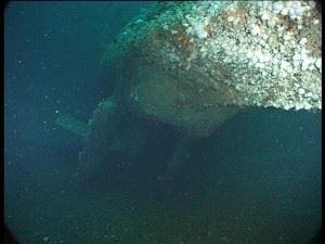 U-155: Stern with twin rudders and torpedo tubes