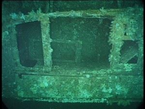 U-155: The tender container on the aft deck - boat shaped!