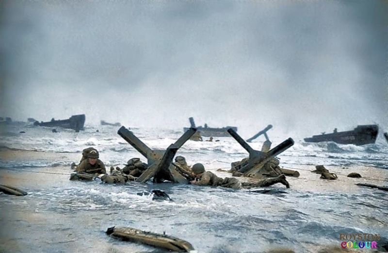 Another 'Shaky' Robert Capa photograph taken on Omaha Beach 'Easy Red Sector', Omaha Beach - approx. 0700 on the 6th June 1944