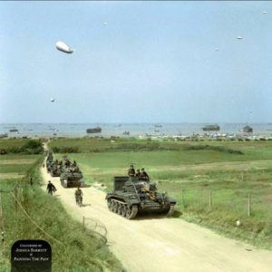 A British Cromwell Tank fitted with deep wading trunks heads an armoured column of the 4th County of London Yeomanry, 22nd Armoured Brigade, 7th Armoured Division inland from Gold Beach, Normandy June 7 1944.