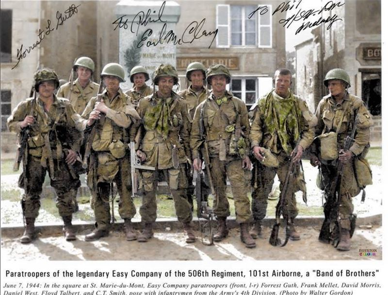 'Easy Company,' 2nd Battalion of the 506th Parachute Infantry Regiment of the 101st Airborne Division, at Sainte-Marie-du-Mont, Normandy.