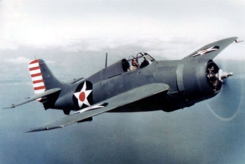 A U.S. Navy Grumman F4F-3 in non-specular blue-grey over light-grey scheme in early 1942. Note modified pitot tube of the later F4F-4 model, moved from the leading edge of the wing to an L-style mount under the wing.