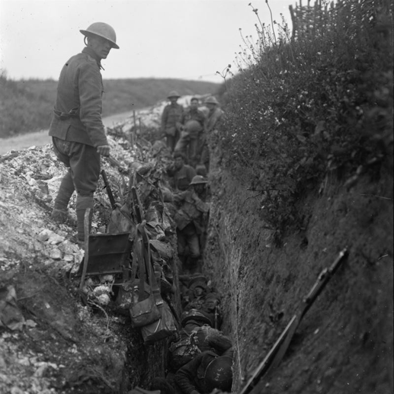 Royal Engineers waiting in a support trench shortly before zero hour. (Credit: Imperial War Museum)