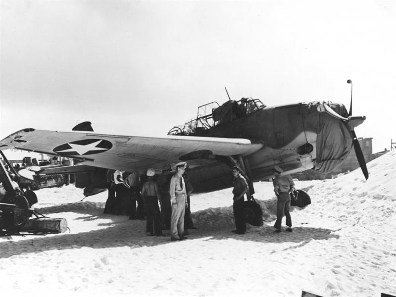 Photograph of the sole surviving Grumman TBF-1 Avenger (BuNo 00380, side number 8-T-1) of U.S. Navy Torpedo Squadron 8 (VT-8) on Midway's Eastern island, shortly after the Battle of Midway, on 24 June 1942.