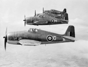 A section of Fleet Air Arm Hellcat F Mk.Is of 1840 Squadron in June 1944.