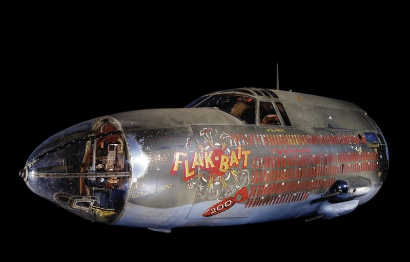 The front fuselage of Flak-Bait which served with the 449th Bombardment Squadron, 322nd Bombardment Group, Eighth and Ninth Air Forces. This famous B-26 flew from bases in England and, after D-Day (on which it flew two missions), from bases in France and Belgium. (Credits: Eric Long)