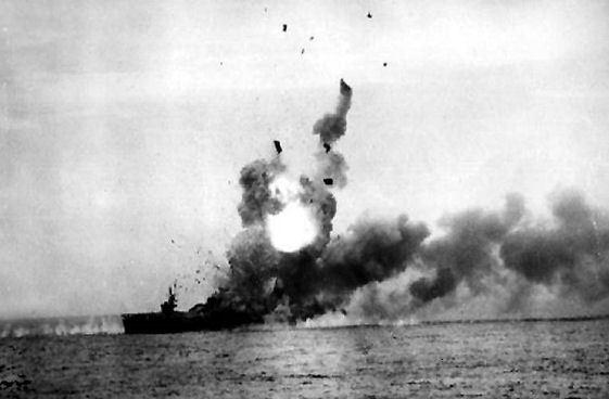 USS St. Lo (CVE-63) explodes after kamikaze strike